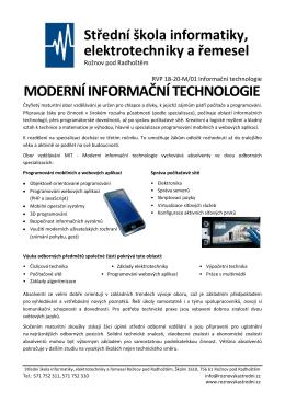 moderní informační technologie - SŠIEŘ