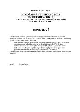 usnesení a zápis z jednání (pdf) - Jachetní oddíl, TJ Lodní sporty Brno