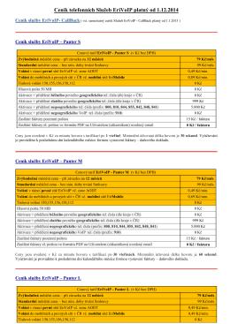 Kompletní ceník Služeb EriVoIP platný od 1