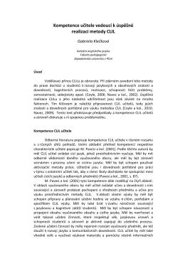Kompetence učitele vedoucí k úspěšné realizaci metody CLIL