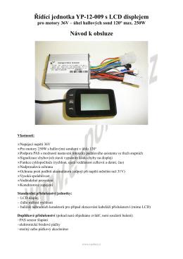 Řídící jednotka YP-12-009 s LCD displejem Návod k - E