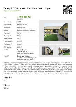 Prodej RD 5+1 v obci Ratišovice, okr. Znojmo 1 700 000 Kč