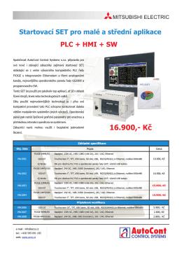 Cenově výhodný startovací set PLC + HMI + SW