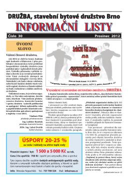 Informační list č.30 - DRUŽBA, stavební bytové družstvo