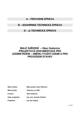 Průvodní a souhrnná technická zpráva