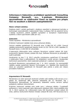 Tisková informace - Consulting Company Novasoft
