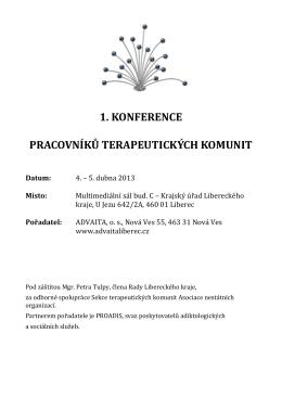 Program v PDF - Konference pracovníků terapeutických komunit