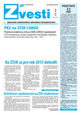 Na ZSSK sa pre rok 2015 dohodli - Odborové združenie železničiarov