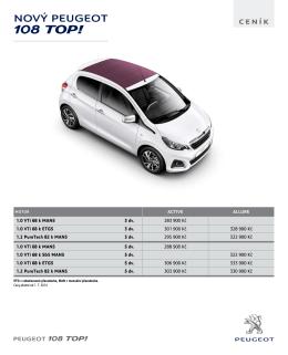 Ceník modelu Nový Peugeot 108 TOP
