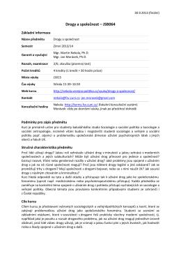 Drogy a společnost – JSB064