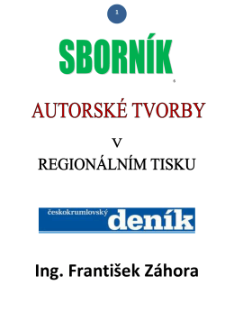 Ing. František Záhora - moje pošumavsko