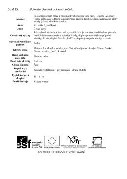 DUM 15 Pololetní písemná práce – 4. ročník