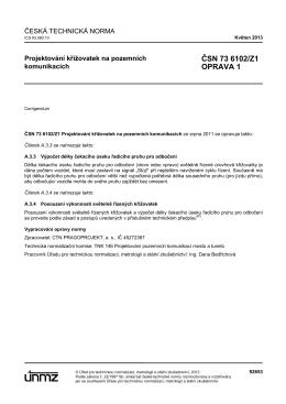 ČSN 73 6102/Z1 OPRAVA 1