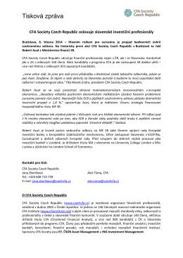 Tisková zpráva: CFA Society Czech Republic oslovuje slovenské