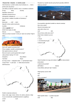 Pracovní list Austrálie a Oceánie pro 2.D