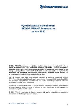 Výroční zpráva 2013 - ŠKODA PRAHA Invest