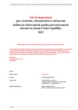 Návrh doporučení pro výstavbu, rekonstrukci a zařizování knihoven