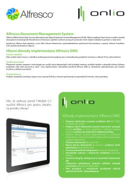 Alfresco Document Management System Hlavní důvody