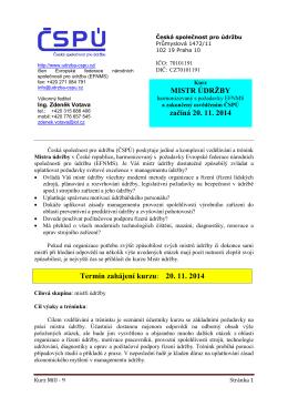 Kurz pro mistry údržby začíná 20.11.2014 Klikněte pro více informací