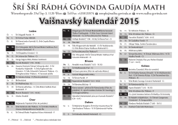 Vaišnavský kalendář 2015 - Radha
