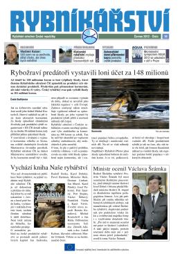 Noviny Rybníkářství 10. číslo - Rybářské sdružení České republiky