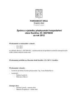 Zpráva o výsledku přezkoumání hospodaření obce Koclířov, IČ