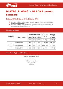 Betonová dlažba plošná hladká Standard