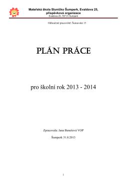 Plán práce - Evaldova 25