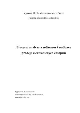 Procesní analýza a softwarová realizace prodeje