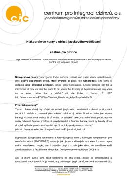 Nízkoprahové kurzy češtiny pro cizince CIC