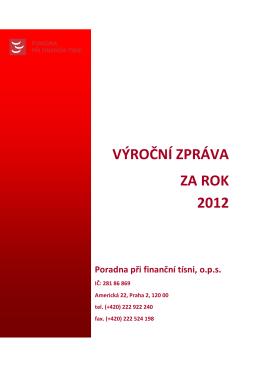 VÝROČNÍ ZPRÁVA ZA ROK 2012 - Poradna při finanční tísni, ops