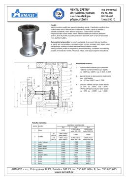ventil zpětný do svislého potrubí s automatickým