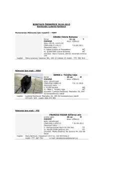 Výsledky bonitace dne 20.4.2013 v Černošicích
