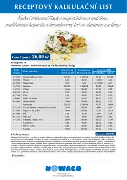 Receptové kalkulační listy Gastro tour 2012 [PDF