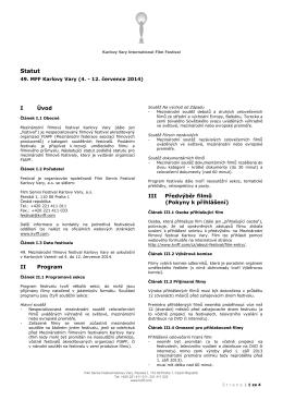 Statut - Mezinárodní Filmový Festival Karlovy Vary