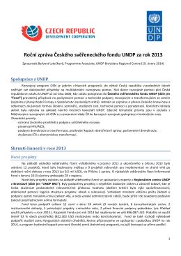 Roční zpráva Českého svěřeneckého fondu UNDP za rok 2013