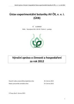 Výroční zpráva 2012 - Institute of Experimental Botany AS CR