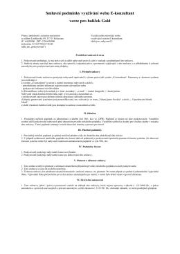 Smluvní podmínky využívání webu E-konzultant verze pro balíček Gold