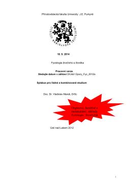 Fyziologie živočichů a člověka 1996/7