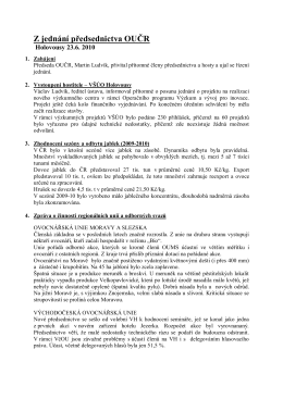 Z jednání předsednictva OUČR - Ovocnářská unie České republiky