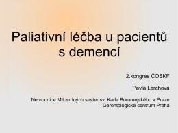 Paliativní léčba u pacientů s demencí
