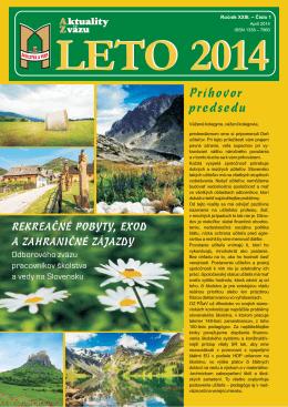 Aktuality zväzu roč. 23.2014.č.1.ISSN 1338-7960