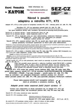Návod k použití adaptéru a retrofitu KT1, KT3