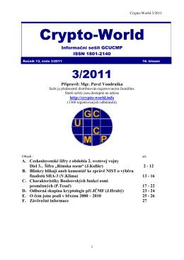 Crypto-World 3/2011 - Personal page: Vlastimil Klima