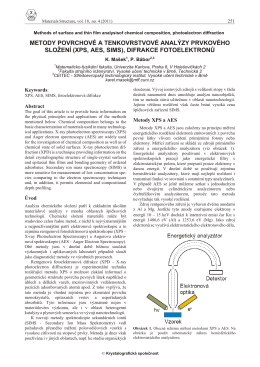 metody povrchové a tenkovrstvové analýzy prvkového složení (xps