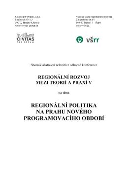 regionální politika na prahu nového programovacího období