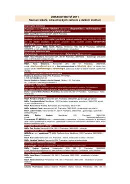 Seznam lékařů a zdravotnických zařízení 2012