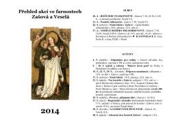 Přehled akcí ve farnostech Zašová a Veselá 2014