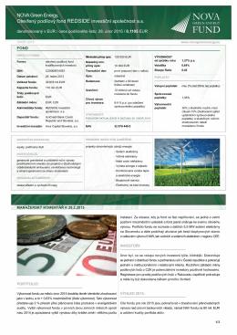 noVA Green Energy, otevřený podílový fond REDSIDE investiční