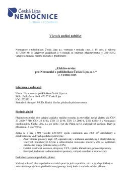 Veřejná zakázka malého rozsahu - elektrorevize pro NsP Česká